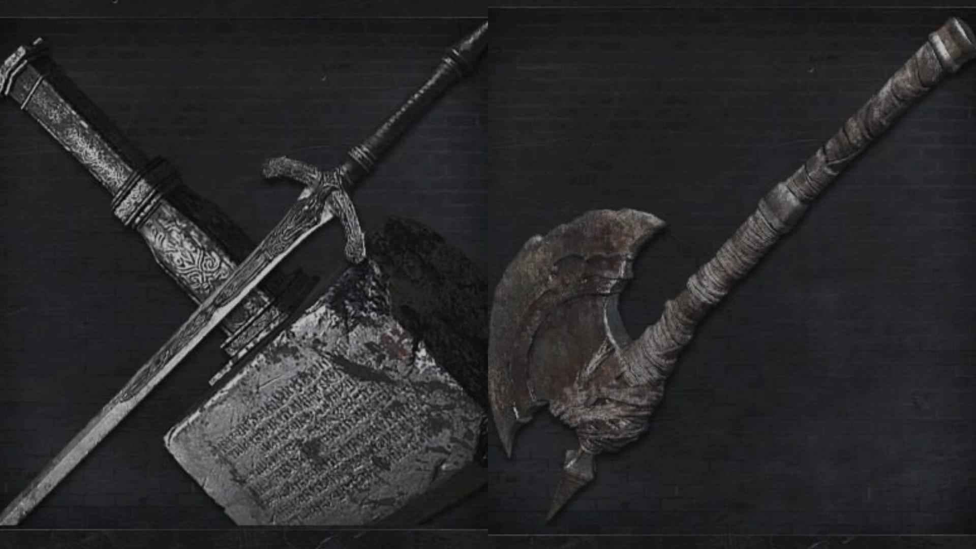 Épée-marteau et hache de chasseur