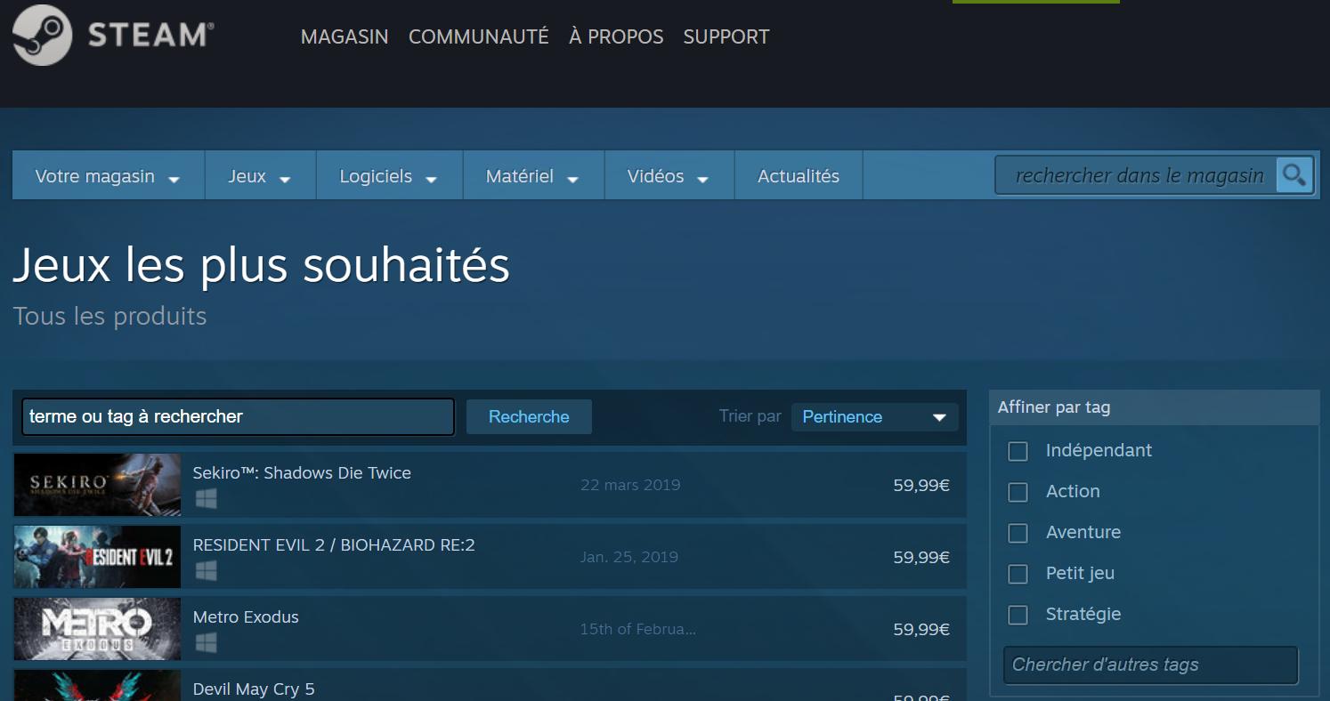 Liste Steam des jeux les plus attendus