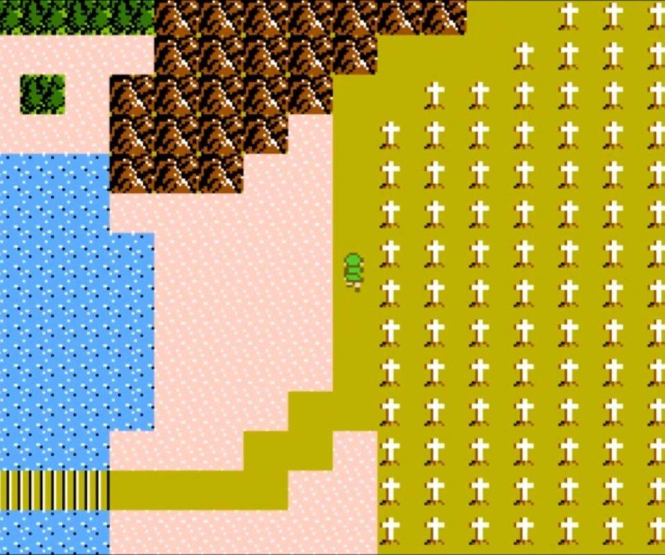 Image de la carte topographique de Zelda 2 The Adventure of Link. On y voit deux biotopes : le désert et un cimetière, ainsi que le fameux chemin neutre de couleur jaune #GuiDaFunkyMan #zelda2 #ZeldaTheAdventureOfLink #NES #Nintendo #retrogaming #retrogamer #retrogames #ZeldaRetro