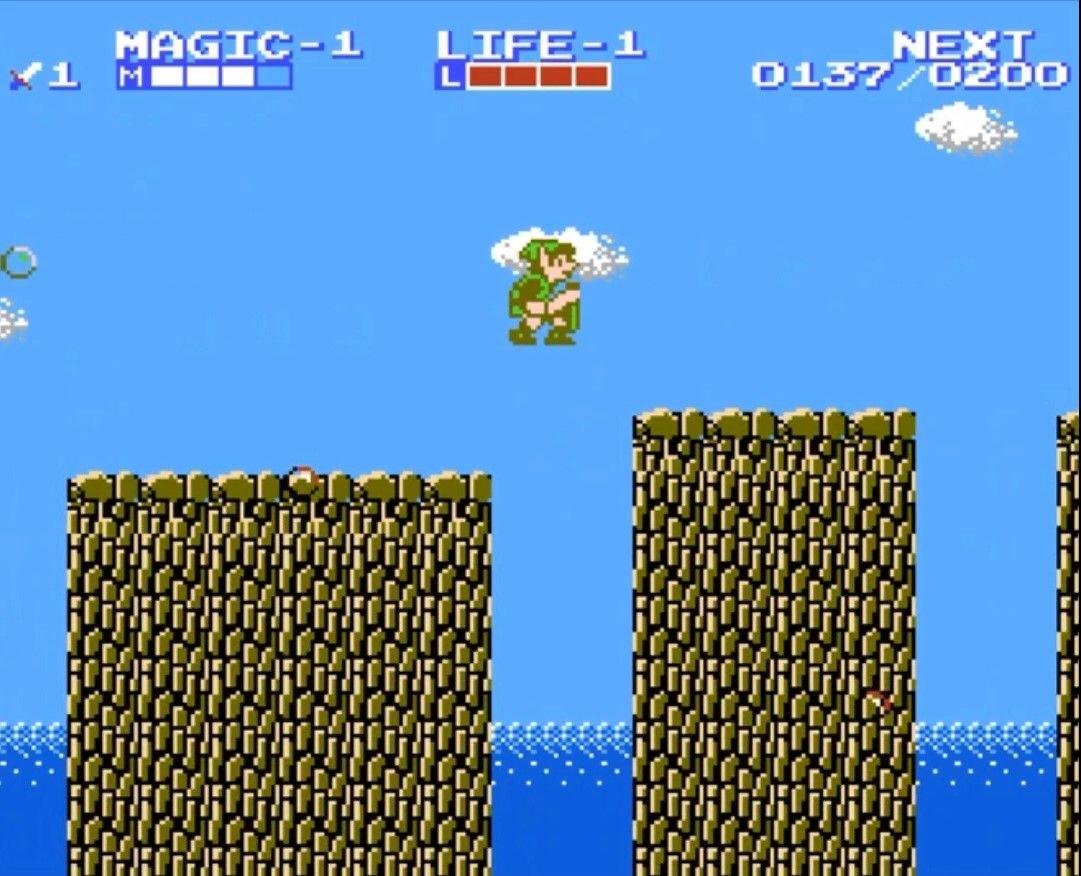 Link en train de sauter, afin d'éviter trou rempli d'eau #GuiDaFunkyMan #zelda2 #ZeldaTheAdventureOfLink #NES #Nintendo #retrogaming #retrogamer #retrogames #ZeldaRetro