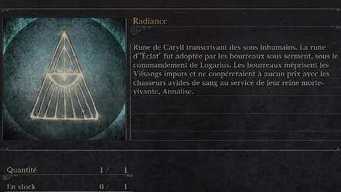 Descriptif de la rune Radiance, rune des Bourreaux dans Bloodborne et trésor ultime de la quête d'Alfred #GuiDaFunkyMan #Bloodborne #BloodborneQueteAlfred #BloodborneAlfred #FromSoftware #RuneRadiance