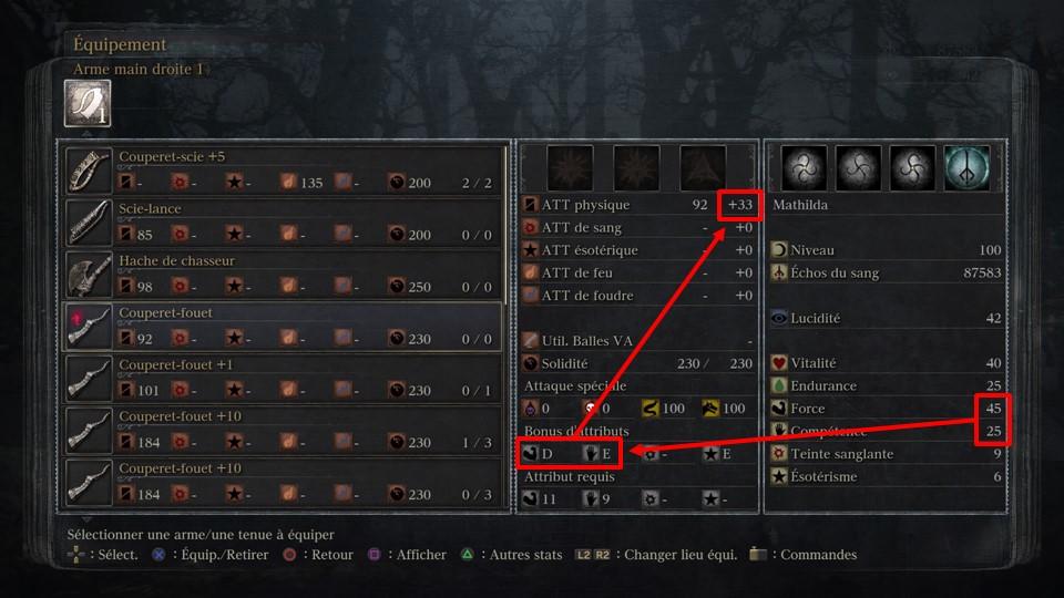 Dans Bloodborne, les scalings sont en étroites corrélations avec les points de stats de votre build, l'amélioration de votre arme et les gemmes.
