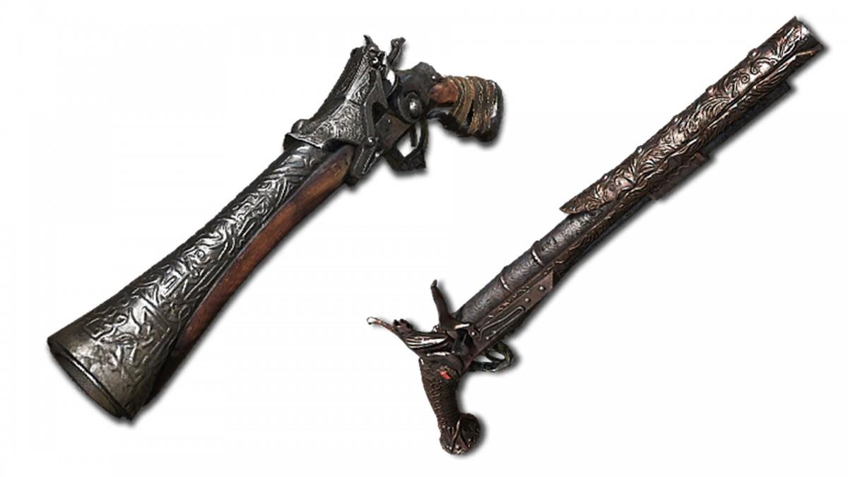 Le pistolet de chasseur et l'evelyn dans Bloodborne